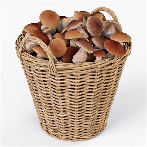 3d wicker basket ikea nipprig wicker basket ikea nipprig with mushrooms 3d model