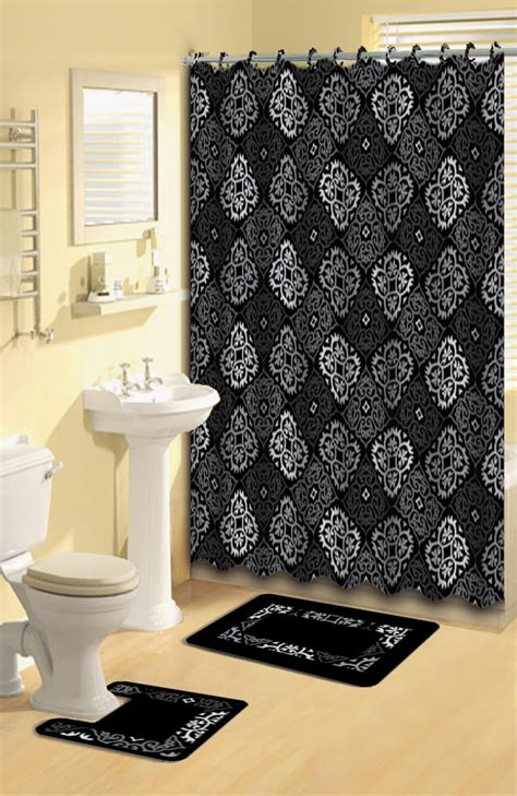 black and gray bathroom rugs black gray scrolls shower curtain 15 pcs bath rug mat