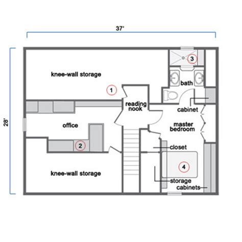 attic floor plan tapping existing potential to create an attic master suite