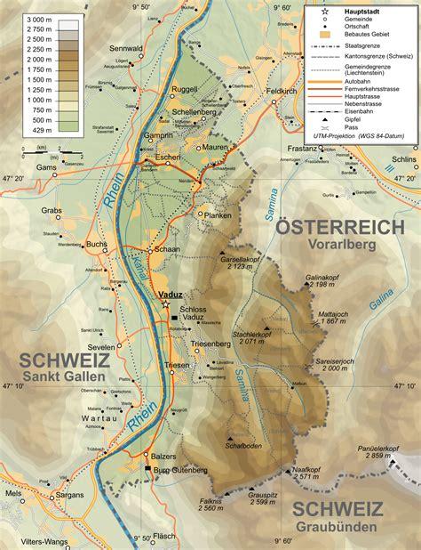 liechtenstein on a map maps of liechtenstein detailed map of liechtenstein in