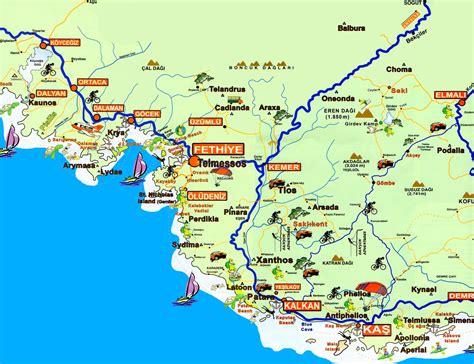 printable tourist map of turkey fethiye area tourist map