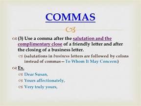 Business Letter Format Colon Or Comma Comma Punctuation Ppt