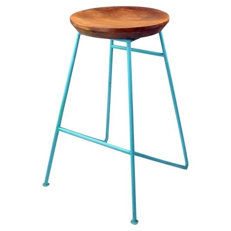all metal bar stools buy light blue metal bar stool with solid wood seat from