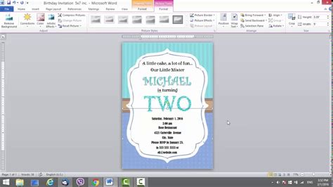 Birthday Invitation Template For Ms Word Youtube Microsoft Word Birthday Invitation Templates