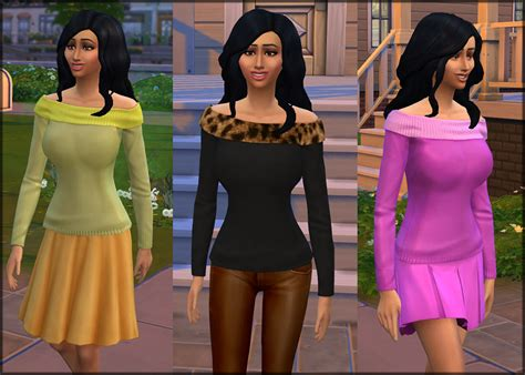 New Gamis Two Tone 2 mod the sims sims 4 shoulder two tone sweaters
