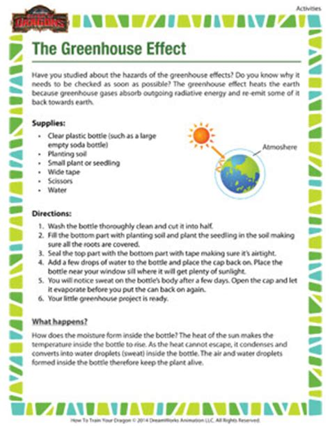 printable greenhouse the greenhouse effect science activity for 6th grade