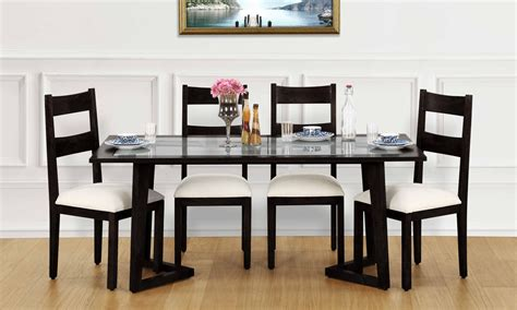 glass top tables dining buy anders 6 seater dining table glass top in
