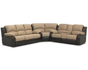 two tone chocolate fabric reclining sectional sofa