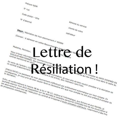 Lettre De R Siliation Op Rateur Comment R 233 Silier Abonnement Numericable