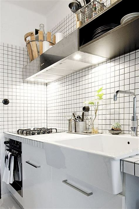 tiny black  white apartment decorated  subway tiles