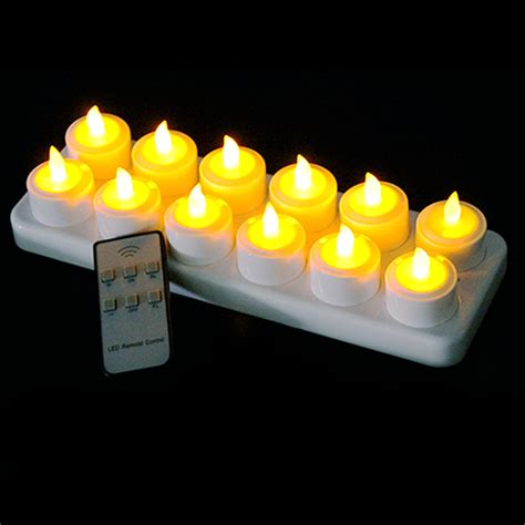 12x led electric rechargeable tea candle lights church