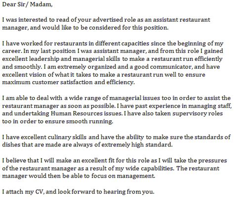 letter of application letter of application for a in a restaurant