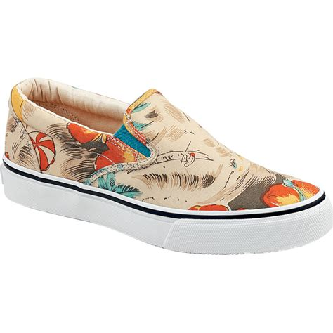 hawaiian shoes sperry top sider striper slip on hawaiian print shoe