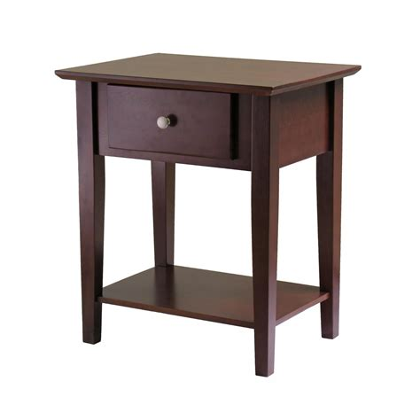 night stand amazon com winsome wood shaker night stand antique walnut finish kitchen dining