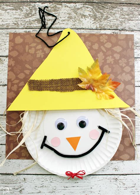 Scarecrow Paper Craft - scarecrow paper plate craft for thanksgiving
