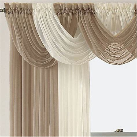 4 Panel Curtains New 4 Panel Elegance Sheer Voile Curtains With 5 Scrafs Ebay