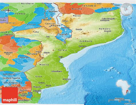 physical map of mozambique physical panoramic map of mozambique political outside
