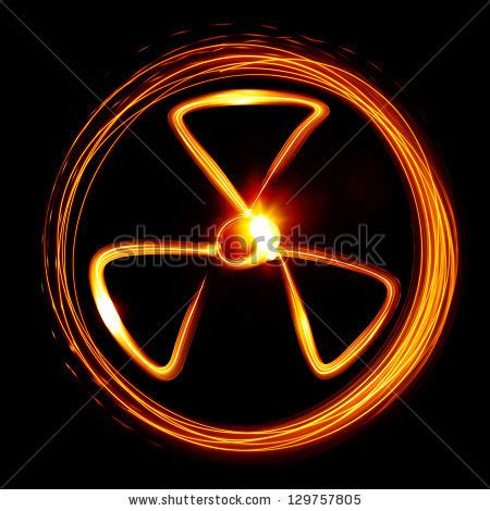 Armaggeddon Nuke 7 Yellow radiation sign created by light stock photo