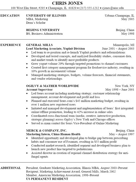 resume templates marketing sle marketing resume