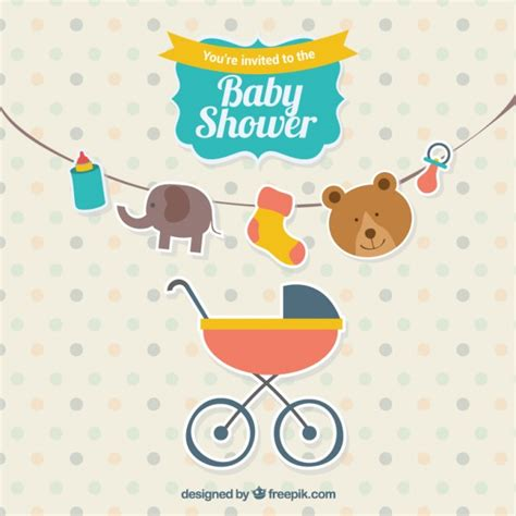 Invite Baby Shower Vector | cute baby shower invitation vector free download