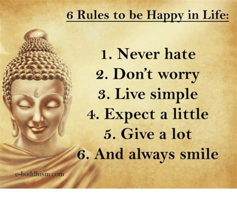Happy Life Meme - 6 rules to be happy in life 1 never hate 2 don t worry 3