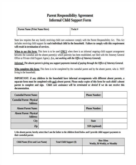 Sle Child Support Agreement Forms 8 Free Documents In Word Pdf Child Support Agreement Template Free