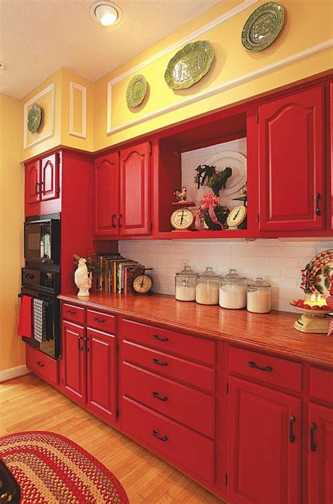 painting kitchen cabinets red it s here my kitchen featured in country woman magazine