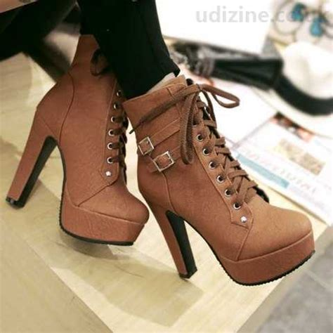trendy s high heel boots with buckles solid color