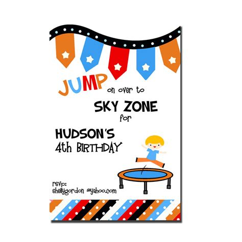 Printable Sky Zone Birthday Invitations | troline party invitation sky zone birthday invitation