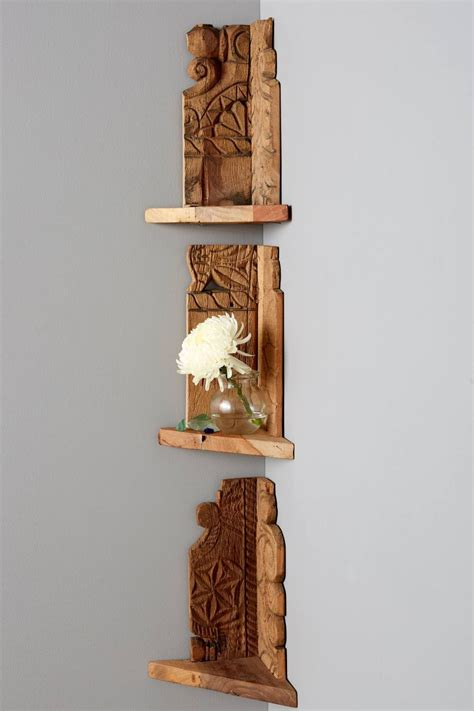 corner shelves wood archaic design corner ladder shelf