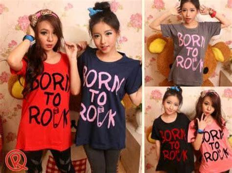 Kaos Cewek Apple baju remaja keren jual kaos cewek born to rock