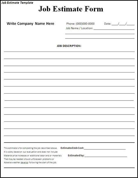 free printable work invoice template job estimate tempalte 445121 template pinterest