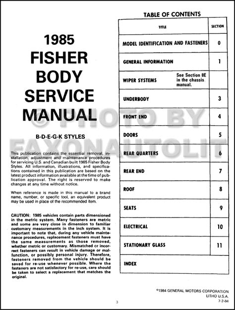 service manual 1985 pontiac parisienne service manual download 1985 pontiac firebird trans