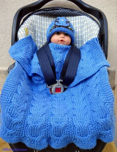 Knitted Car Seat Blanket on the go baby blanket knitting patterns in the loop