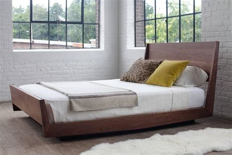 Ab5 Queen Size Contemporary Walnut Floating Platform Bed Floating Bed Frame For Sale