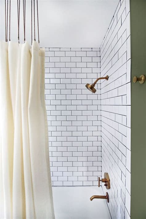 ball chain shower curtain rings beveled subway tile charcoal grout ball chain shower