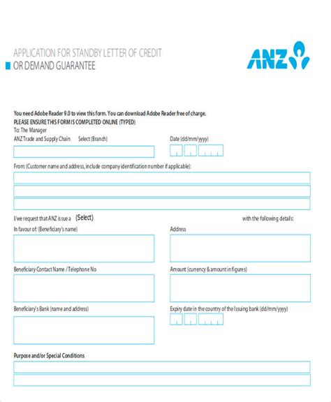 Anz Credit Letter Letter Of Credit Sle 9 Exles In Word Pdf