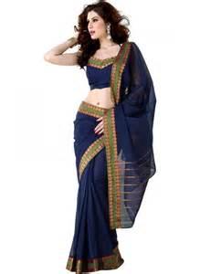blue handloom cotton saree online shopping india indus