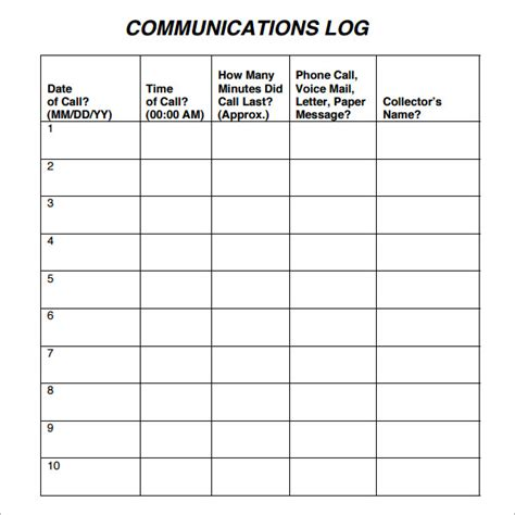 communication record template communication log template 8 free pdf doc