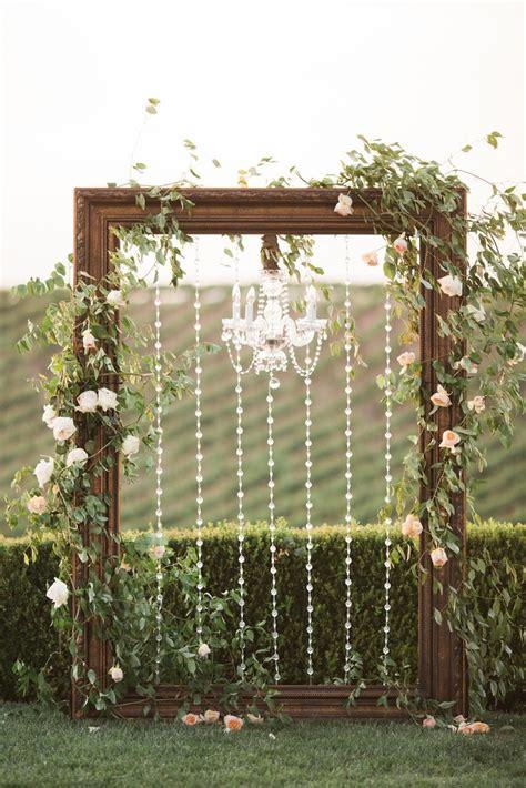frame chandelier wedding arch winery west lawn jenna