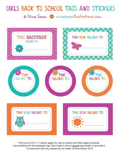 We Love To Illustrate August 2013 School Notebook Labels Templates