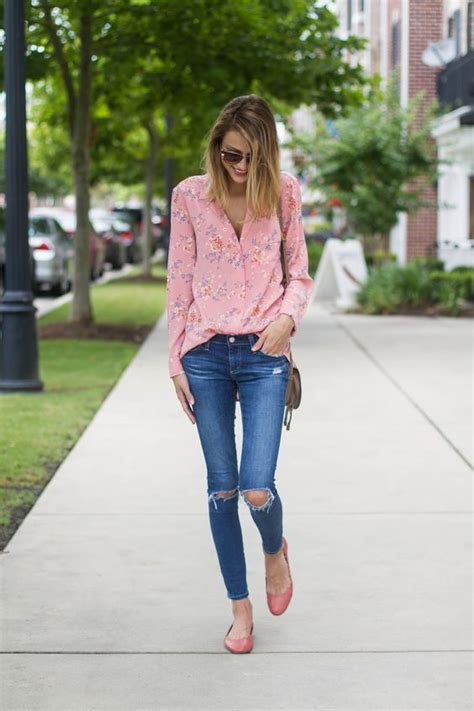 picture of a pastel pink floral blouse with distressed