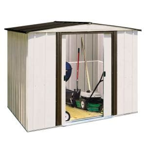 outdoor sheds at home depot arrow newport 8 ft x 6 ft steel shed np8667 the home depot