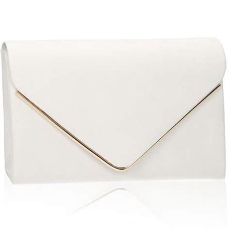 White Clutch xardi white envelope metal bar suede clutch bag