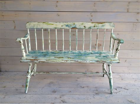 painted wooden benches vintage painted wooden bench