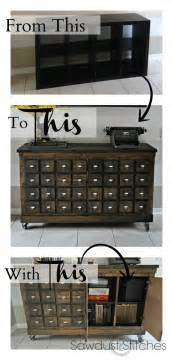 Shelf that was transformed into a card catalog cabinet apothecary