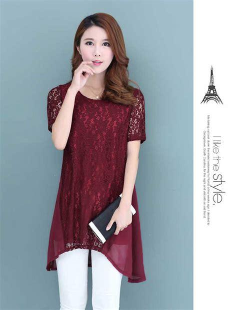 Baju Atasan Pendek Wanita baju atasan wanita lengan pendek kombinasi brokat b3195
