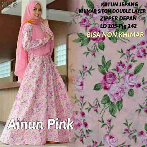 Busana Muslim Cewek Wanita Gamis Syari Syarii Syari Alina Fanta Navy jual beli gamis baju muslim murah cewek dress katun jepang