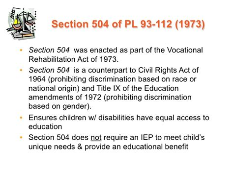 section 504 of the vocational rehabilitation act of 1973 introduction legislation and litigation ppt with notes