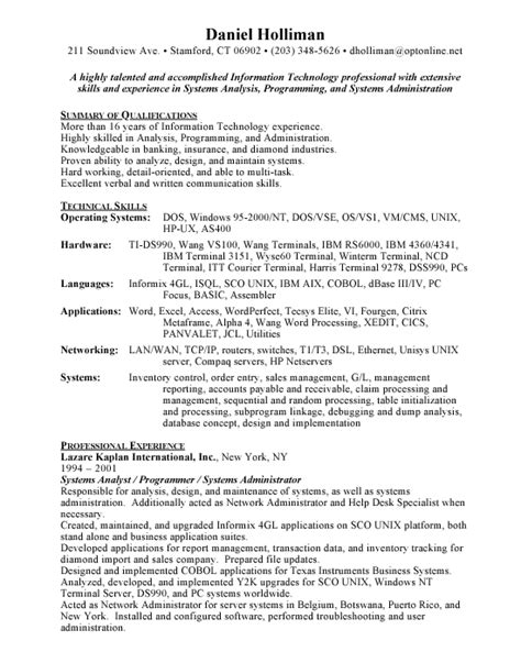 System Analyst Resume Exles by Systems Analyst Free Resumes